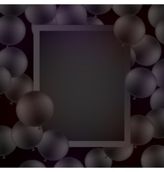 Black ballons on black background with mockup vector image