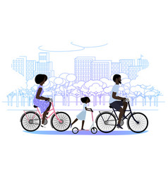 Black family in park riding bicycles on vector