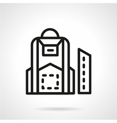 Black line school backpack icon vector image vector image