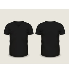 Black V-neck t-shirt template Royalty Free Vector Image
