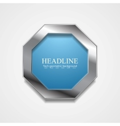 Blue octagon design with metal frame vector image