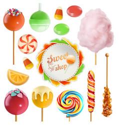 candy set swirl caramel cotton sweet vector image