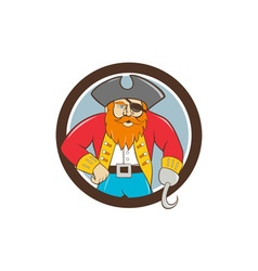 Captain Hook Pirate Circle Cartoon vector image