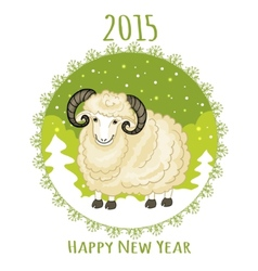 Card with green snowflake and little cute ram vector image