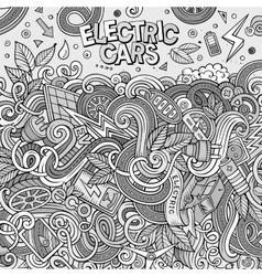 Cartoon doodles electric cars frame design vector image
