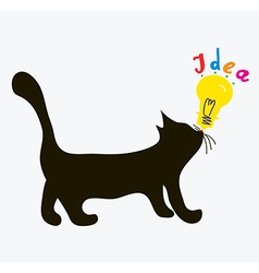Cat with idea light bulb vector image