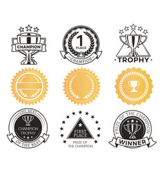 champion stickers collection vector image