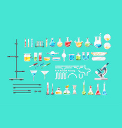 chemical laboratory equipment isolated set vector image