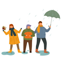 children playing outdoors in rainy weather vector image