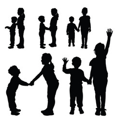 Children silhouette happy and cute vector