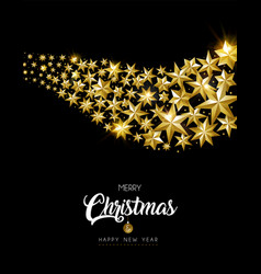 christmas and new year card of gold star design vector image