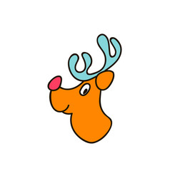 christmas theme with deer set of christmas icons vector image