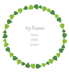 Circular ivy frame vector
