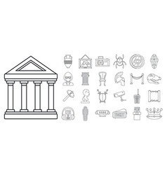 city museum icon set outline style vector image