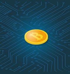 Coin bitcoin on a computer chip earnings vector