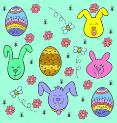 Collection stock easter egg of doodles vector