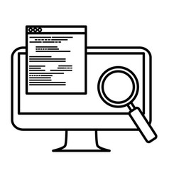 computer with documents and magnifying glass vector image