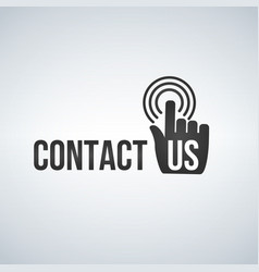 Contact us icon with hand mouse cursor and waves vector