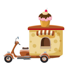 Cupcake moped mobile snack icon cartoon style vector