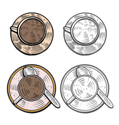 cups with hot coffee vector image