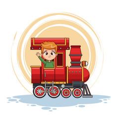 cute boy in train vector image