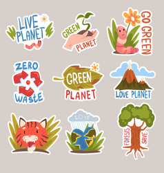Different taglines sticker cartoon vector