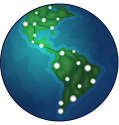 earth with graph icon vector image