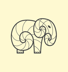 Elephant logo design line art vector