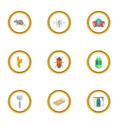 Exterminator icons set cartoon style vector