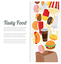 Fast food background with colorful food icons vector
