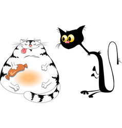 Fat and hungry cat vector