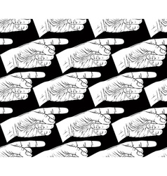 Finger pointing hands seamless pattern black and vector image