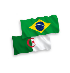 Flags brazil and algeria on a white background vector