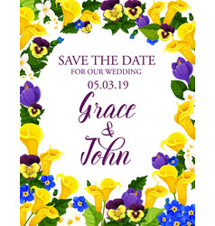 Flowers save the date wedding card vector