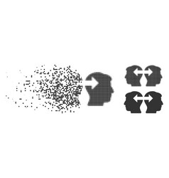 Fragmented dot halftone heads exchange arrows icon vector