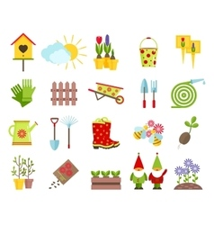 Garden tools and other elements of gardening flat vector image