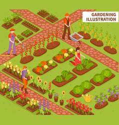 Gardening isometric composition vector