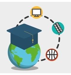 Globe graduation school pc paint basketball vector