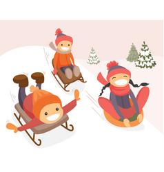 group of caucasian kids enjoying a sleigh ride vector image