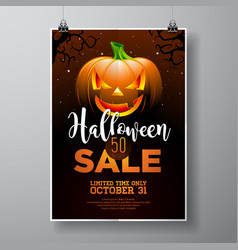 hallowen sale with pumpkin on black sky vector image
