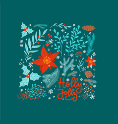 holly jolly christmas greeting card with ornate vector image