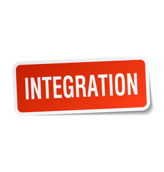 Integration square sticker on white vector