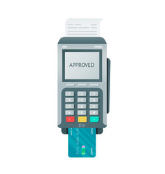 Isolated pos terminal with card and reciept vector