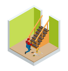 Isometric carpenter building wooden staircase vector