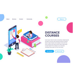 isometric online learning or distance courses vector image