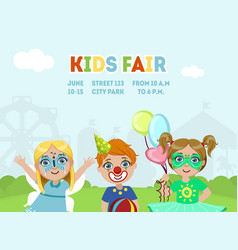 Kids fair banner template children costume party vector