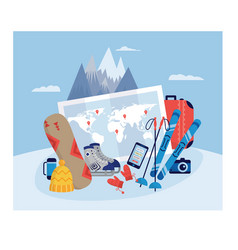 Landscape with winter sport and tourists equipment vector
