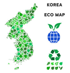 leaf green collage north and south korea vector image