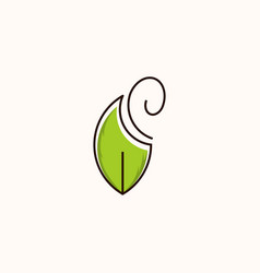 leaf minimalist naturally modern logo vector image