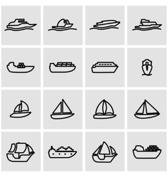 Line ship and boat icon set vector